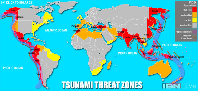 Map: Countries most threatened by tsunamis